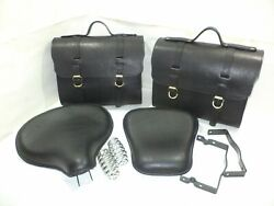 Standard Pure Leather Saddle Bags And Front Rear Seat Black Fit For Royal Enfield