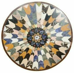 30and039and039 Marble Inlay Table Top Pietra Dura Home Garden Antique Coffee Decor B176