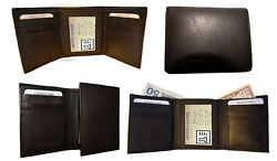 Lot Of 4 New Menand039s Brown Leather Tri-fold Wallet 6 Credit Card 2 Billfolds Bnwt