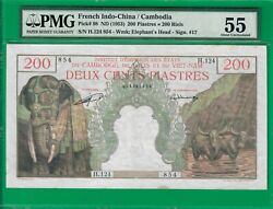 French Indochina Cambodia Indo-china 200 Piastres/riels 1953 P98 Pmg 55 Au