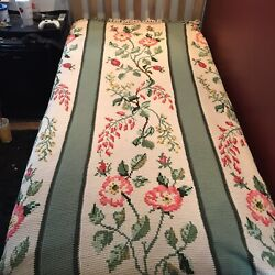 """Vintage Knit Acrylic Blanket W/ Cross Stitched Floral Design 72""""x92"""" Very Clean"""