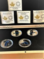 2014/15 Canada Great Lakes- Coa / Box Incl-4 Coins Of 5 In Set- Huron Is Missing