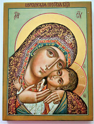 Icon Jesus And Virgin Mary Drawn On A Natural Board Alder Wood Is Used, Gesso