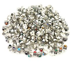 Wholesale 301pc 925 Silver Plated Green Onyx Mix Stone Ring Lot D188
