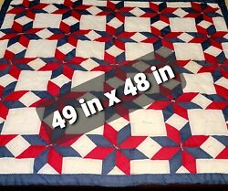 Handmade Vintage Cotton Lap Wall Baby PIN WHEEL Handmade Quilt Red White Blue