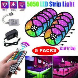 5x 32ft Flexible 5050 Rgb Led Smd Strip Light Remote Fairy Lights Room Tv Party