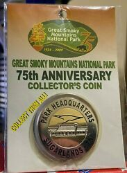 75th Anniversary Great Smoky Mountains Natonal Park Sugarland Collectorand039s Coin