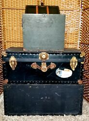 Vintage Ww2 Era Military Footlocker, File Cabinet, And Trunk.
