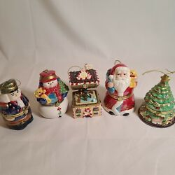 Lot 5 Mr. Christmas Porcelain Hinged Music Box Ornaments Animated Motion Vg Cond