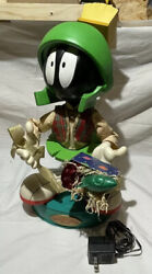 """Rare Looney Tunes Marvin The Martian 18.5"""" Animated Figurine Works Christmas '98"""