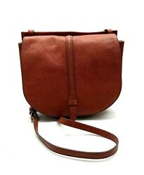 FOSSIL $198 Leather Front Flap Crossbody Saddle Bag Purse in Brown $59.99