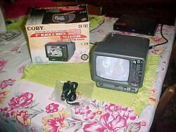 Coby Cx-tv2 Portable 5andrdquo Black And White Television W/ Am Fm Radio Tested/working
