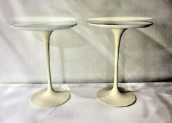Pair 1960s Eero Saarinen For Knoll 16 Inch Tulip Side End Table White Marble Top