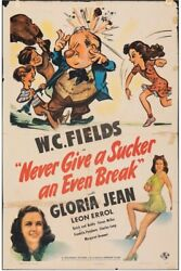 Never Give A Sucker An Even Break Wc Fields Vintage One Sheet Movie Poster 1941