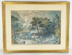 Antique Extremely Rare Hand Colored Currier And Ives Lithograph Stag Hunt Irish