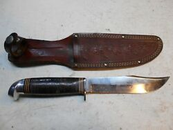 Early Western Boulder Colorado Un Numbered Fixed Blade Hunting Knife+ Sheath