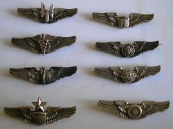 United States Army Air Force Amico Wings Lot Of 7 + Meyer - 2 Inch - Sterling