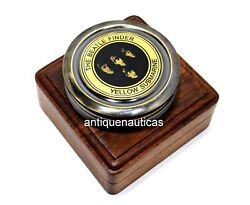 Antique Marine The Beatle Finder Yellow Submarine Compass 3 Inch With Wooden Box