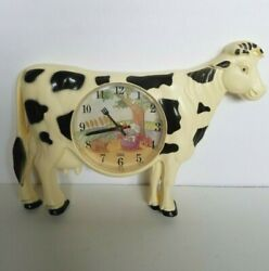Vintage Holstein Cow Wall Clock Knife And Fork Time Hands Collectors Gift