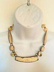 Amy Kahn Russell Necklace Faceted Citrine Petrified Palmwood Fossil Stone Bone
