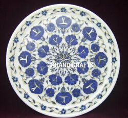 12 Marble Round Plate Lapis Lazuli Inlay Floral Arts Marquetry Kitchen Decor