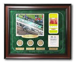 Victor Espinoza Triple Crown Framed Signed 8x10 Photo W/ Race Used Dirt Ticket