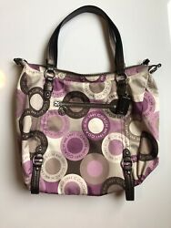 Coach Pink Purple Alexandra Snaphead Satin Satchel Hobo Bag Purse 17852 $40.00