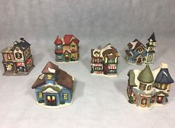 Vintage Hand Painted Ceramic Christmas Village Lot Of 6 School Grocery Toy Shop