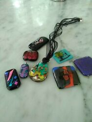 Dichroic Glass Lot Of 8 Fused Glass Tiles Jewelry Handmade, Some Vntg