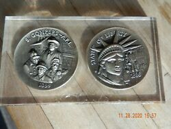 Wittnauer Precious Metals 2 Coin Set Gompers Afl 1886 / Statue Of Liberty 1886