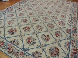 10x14 French Aubusson Needlepoint Geometric Rug Floral Roses Blue Pink Purple