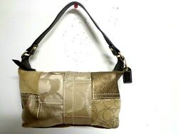 COACH BAG SIGNATURE GOLD PATCHWORK BEIGE BROWN LEATHER SUEDE MINI HOBO PURSE $26.99