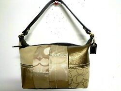 COACH BAG SIGNATURE GOLD PATCHWORK BEIGE BROWN LEATHER SUEDE MINI HOBO PURSE** $39.99