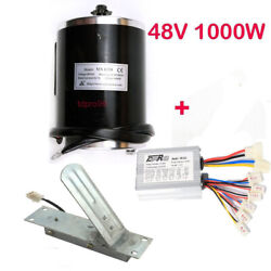 48v Dc Electric Brushed Speed Motor 1000w W/ Speed Controller Pedal For Go Kart