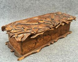 Large Antique French Black Forest Glove Or Pipe Box Early 1900's Woodwork