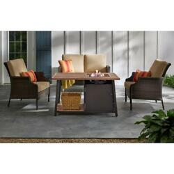 Fire Pit Coffee Table Faux Wood Rectangular Powder Coated Steel Lava Rocks Brown