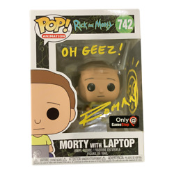 David Angelo Roman Signed And Sketched Morty With Laptop Funko Jsa Rick Morty