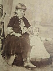 Identified Pretty Girl With Jumeau French Doll Antique Cabinet Card Photo 1880s