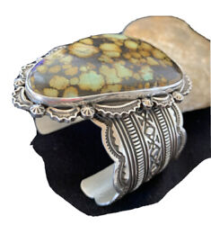 Nwot Mens Native Am Navajo Sterling Silver Spiderweb Turquoise Cuff Bracelet1272