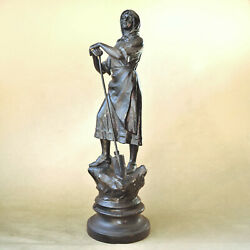 19th C French Spelter Proletariat Statue - 20 Tall - Woman Field / Farm Worker
