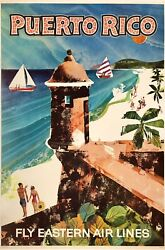 Original Vintage Poster Fly Eastern Air Lines - Puerto Rico Airline Travel Linen