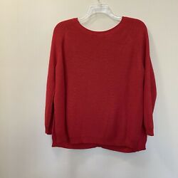 Mer Sea Red Camden Button Back Pullover Sweater Side Splits Size Ml