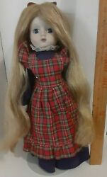 Vintage Schmid Musical Hello Dolly Porcelain Doll W/tags And Stand
