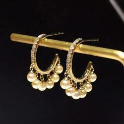 Mother's Day Natural Diamond Pearl Women Chandelier Earrings 14k Yellow Gold