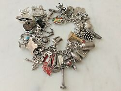 46 Vintage Sterling Silver Wisconsin U Charms Bracelet Circus Badgers Map Sleigh