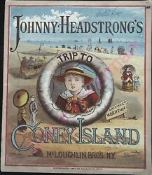 Vintage Childs Book Johnny Headstrongs Trip To Coney Island Mcloughlin Bros 1882