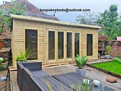 Summer House Contemporary Bi Folding Wooden Cabin Tanalised Delivery 8-14 Weeks