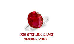 5.00 Cttw Genuine Ruby Oval Cut 925 Sterling Silver Ring Sizes 6-9