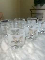 Set Of 6 Vintage Italian Frosted Gold Wheat Leaf Cocktail Glasses Midcentury