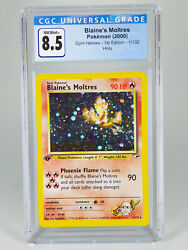 Blaineand039s Moltres 1/132 Holo Swirl 1st Edition Gym Heroes Pokemon Cgc 8.5 Not Psa